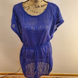 Catalina Sheer Lace Purple Swim Suit Cover Up M